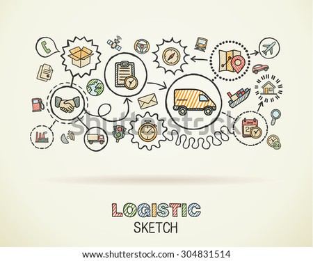 Logistic hand draw integrated icons set on paper. Colorful vector sketch infographic illustration. Connected doodle color pictogram: distribution, shipping, transport, services interactive concept - stock vector