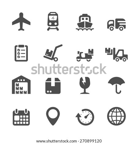 logistic icon set, vector eps10. - stock vector