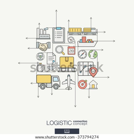 Logistic integrated thin line symbols. Modern color style vector concept, with connected flat design icons. Illustration for delivery, service, shipping, distribution, transport, communicate concepts - stock vector