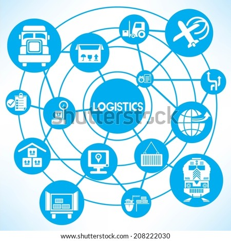 logistic management concept info graphic network with blue theme