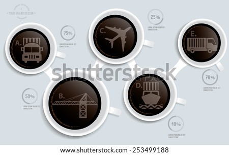 Logistic on coffee info graphic design,clean vector - stock vector