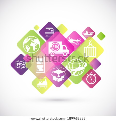 Logistic rhombus icons design set of delivery and service symbols isolated vector illustration - stock vector