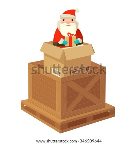 Logistic Santa Claus with a gift. Flat Vector illustration. For poster, logo, web, info graphic, banner. - stock vector