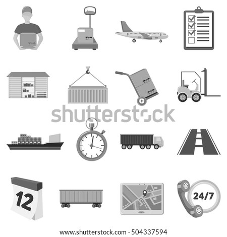 Logistic set icons in monochrome style. Big collection of logistic vector symbol stock illustration