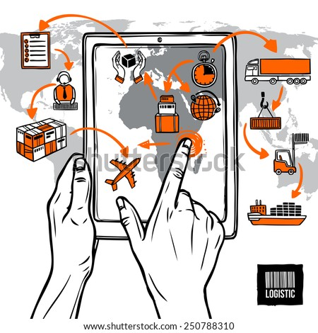 Logistic sketch concept with hand holding digital tablet shipping icons and world map vector illustration - stock vector
