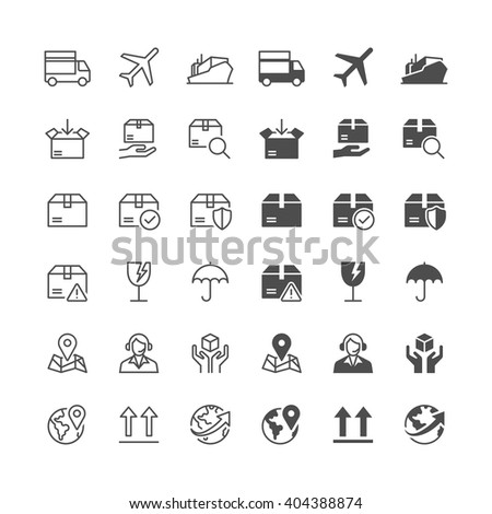 Logistics and shipping icons, included normal and enable state. - stock vector
