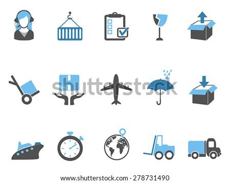 logistics and shipping icons set blue series - stock vector