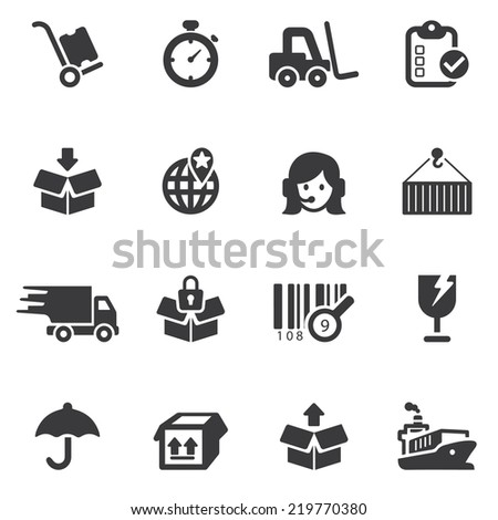 Logistics and shipping Silhouette icons - stock vector