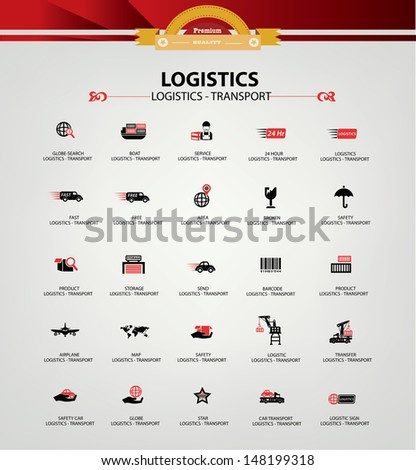 Logistics and transport icons,Red version,vector - stock vector