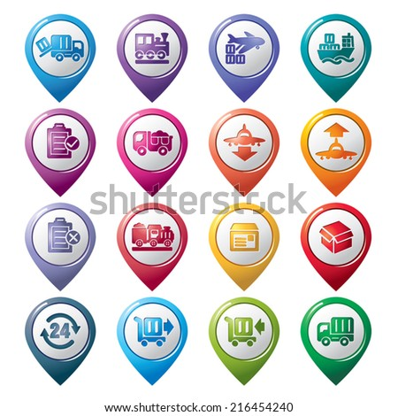 Logistics and Transport Pointer Icons - stock vector