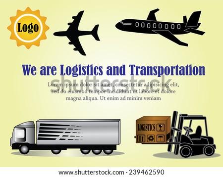 Logistics concept,crane forklift plane and truck vector - stock vector