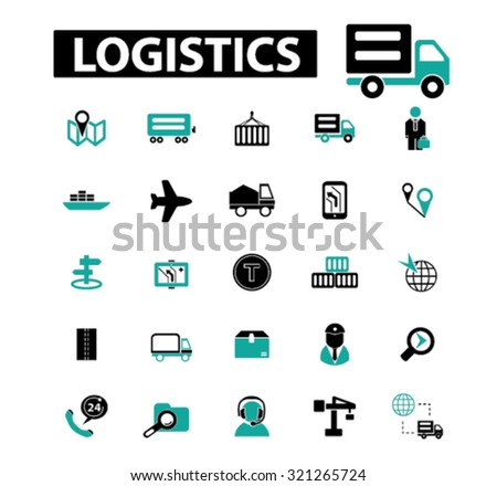 logistics, delivery icons - stock vector