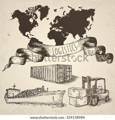 Logistics hand drawn isolated elements. - stock vector