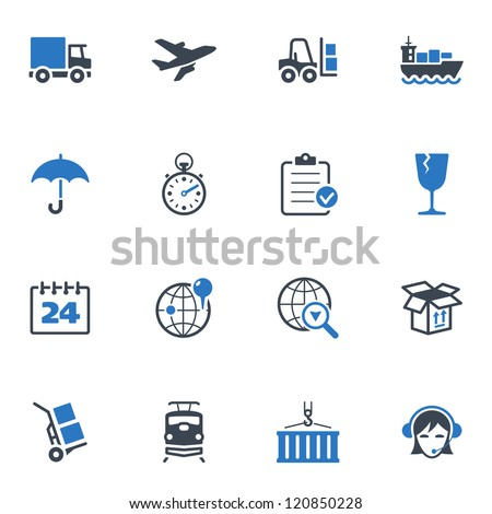 Logistics Icons - Blue Series - stock vector