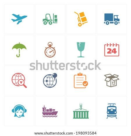 Logistics Icons - Colored Series - stock vector