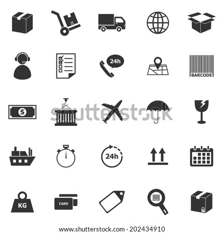 Logistics icons on white background, stock vector - stock vector