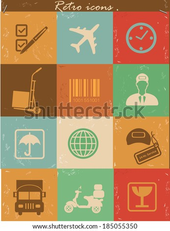 Logistics icons,Retro vector