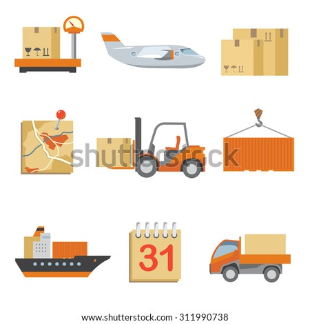 Logistics icons set in vintage flat style. Truck and shipping, cargo and transport, box delivery. Vector illustration - stock vector