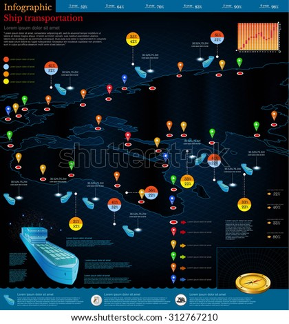 Logistics infographic of cargo ships with route of delivery.Part of world map Africa Europe.  - stock vector