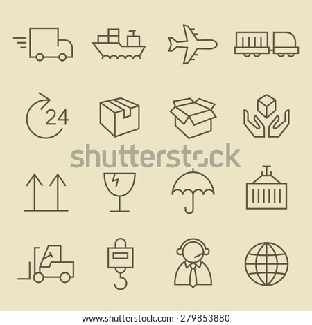 Logistics line icon set - stock vector