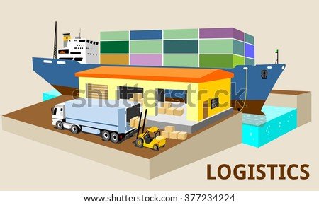 logistics port, ship, freight, warehouse, terminal, loading, unloading, truck, container ocean, sea, delivery truck lorry - stock vector