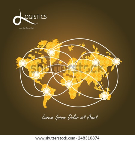 Logistics technology concept,logistics connection on world map vector - stock vector