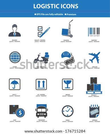Logistics & transport icons,Blue version,vector - stock vector