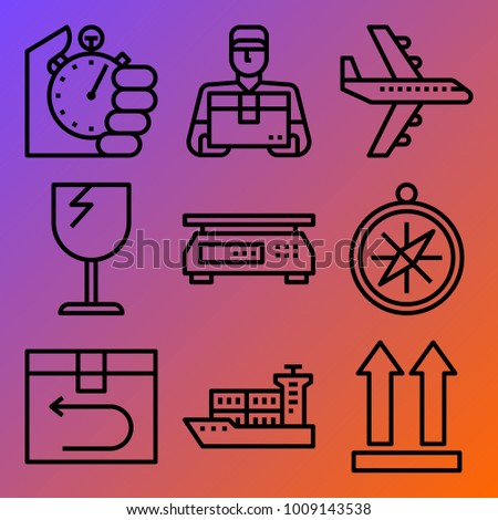 Logistics vector icon set consisting of 9 icons about fragile, compass, stopwatch, timer, side up, aeroplane, ship, box, delivery man and scale
