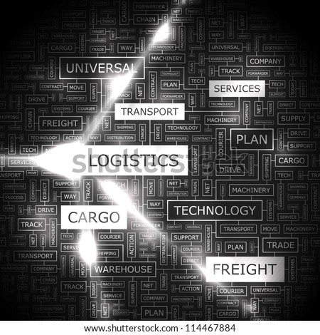 LOGISTICS. Word collage. - stock vector