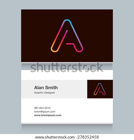 "Logo alphabet letter ""A"", with business card template. Vector graphic design elements for your company logo. - stock vector"