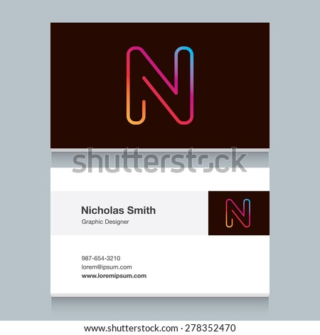 """Logo alphabet letter """"N"""", with business card template. Vector graphic design elements for your company logo. - stock vector"""