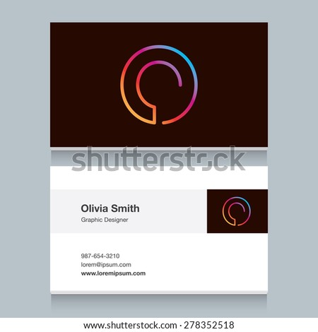 """Logo alphabet letter """"O"""", with business card template. Vector graphic design elements for your company logo. - stock vector"""