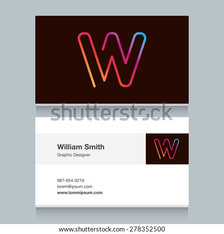 "Logo alphabet letter ""W"", with business card template. Vector graphic design elements for your company logo. - stock vector"