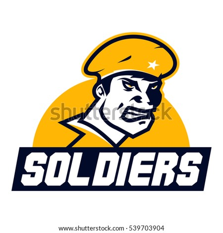 Logo American soldier. Cap, facial image, a special form. The emblem on the theme of war, battle. Vector illustration. Flat style