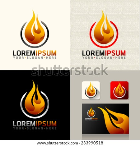 Logo and Abstract web Icon and fire vector identity symbol. Unusual icon on business card. Graphic design easy editable for Your design.  - stock vector