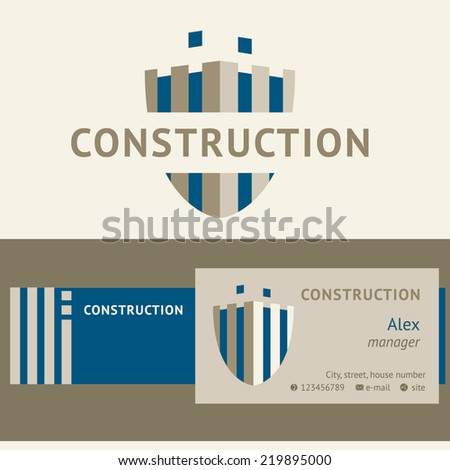 Logo and identification of a construction company. Unfinished building, shield. Business card, banner. Edited. - stock vector