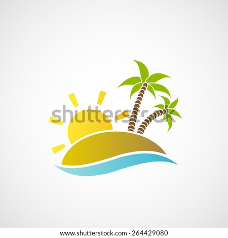 Logo beach with palm trees, the ocean and the sun. Vector image. - stock vector