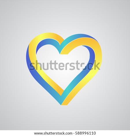 Logo Blue Yellow Heart Icon Vector Stock Photo Photo Vector