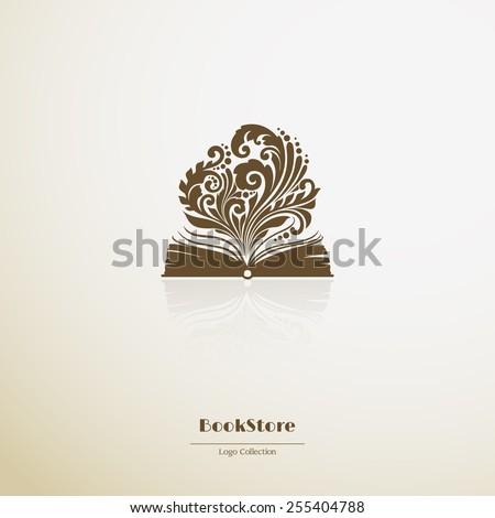 Logo bookstore. Ornate opened book icon - stock vector