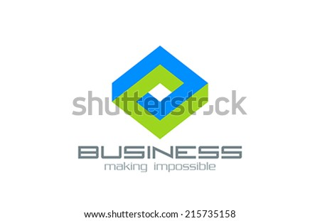 Logo Business Rhombus vector design template. Abstract Infinite impossible loop.  Corporate icon logotype. Creative Square infinity concept.  - stock vector