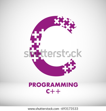 Logo C Programming Language Icon Vector Illustration On Topic Of Popular High Level Coding
