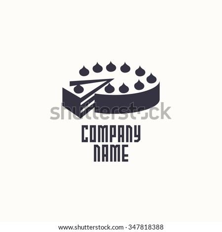 logo cake. Vector design logo. Logo for bakery shop. Vector illustration - stock vector
