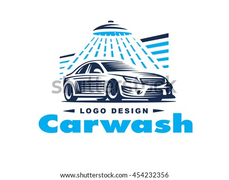 logo car wash on light background stock vector 454232356