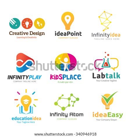 Logo collection,logo set,logo,creative idea logo,idea logo,education logo,design agency logo,vector logo template - stock vector