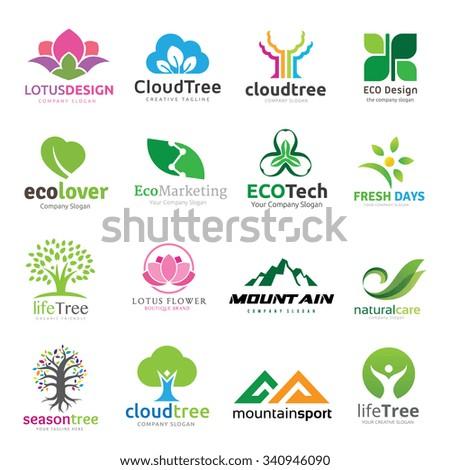 Logo collection,logo set,tree logo,green and eco logo collection,people logo,vector logo template - stock vector