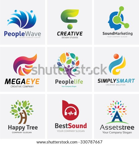 Logo collection,People Logo,brain logo,creative logo,Tree logo,sound Logo,Vector Logo Template