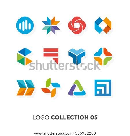 Logo collection 05. Vector graphic design elements for company logo. - stock vector