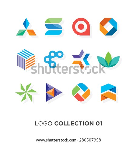 Logo collection 01. Vector graphic design elements for your company logo. - stock vector