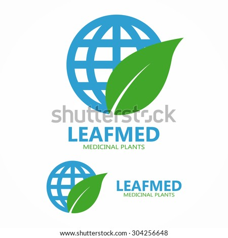 Logo combination of a leaf and globe - stock vector