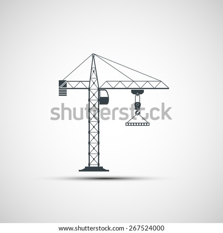 logo construction crane. Vector image. - stock vector